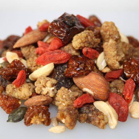 Trail mix #goji#mulberries#golden berries#pinenuts#pumpkin seeds#raisins