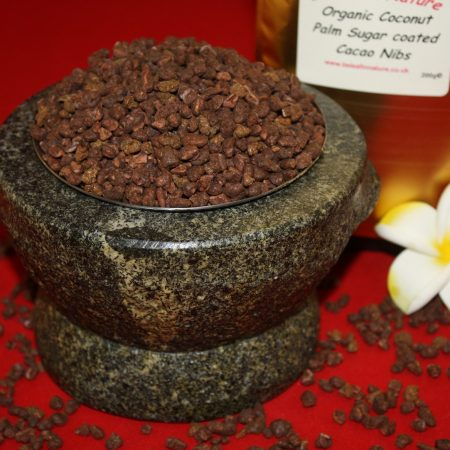 Organic coconut palm sugar coated cacao nibs